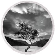Black And White Beautiful Landscape Image Of Llyn Padarn At Sunr Round Beach Towel