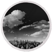 Black And White Blue Ridge Mountains Round Beach Towel
