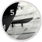 Black And White Boat Reflection Round Beach Towel