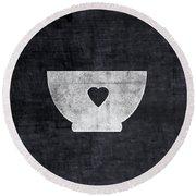 Black And White Bowl- Art By Linda Woods Round Beach Towel