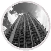 Black And White Brutalist Barbican Round Beach Towel