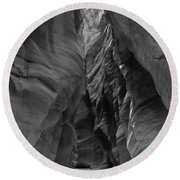Black And White Buckskin Gulch Round Beach Towel