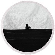 Black And White Capture Of Two People Riding On The Motorbike In The Distance Round Beach Towel