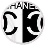 Black And White Chanel Round Beach Towel