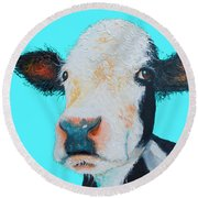 Black And White Cow On Blue Background Round Beach Towel