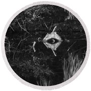 Black And White Cyclops Round Beach Towel