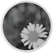 Black And White Daisy Round Beach Towel