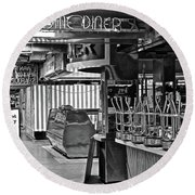 Black And White Diner Round Beach Towel