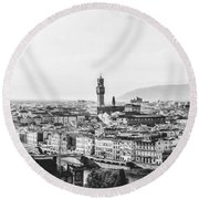 Black And White Florence Italy Round Beach Towel