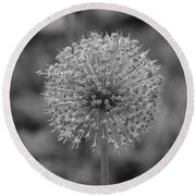 Black And White Flowers Round Beach Towel