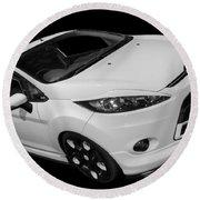 Black And White Ford Fiesta Round Beach Towel