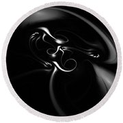 Black And White Fractal 080810b Round Beach Towel