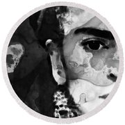 Black And White Frida Kahlo By Sharon Cummings Round Beach Towel