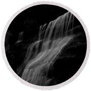 Black And White Hidden Falls Round Beach Towel