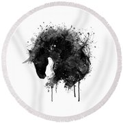 Black And White Horse Head Watercolor Silhouette Round Beach Towel