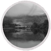 Black And White Landscape Of Llyn Crafnant During Foggy Autumn M Round Beach Towel