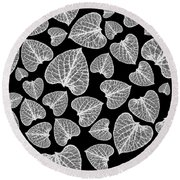 Black And White Leaf Abstract Round Beach Towel