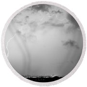 Black And White Lightning Dome Over City Lights Round Beach Towel