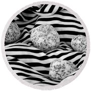 Black And White Lines And Stones  Round Beach Towel