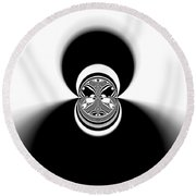 Black And White Mandala 35 Round Beach Towel by Robert Thalmeier