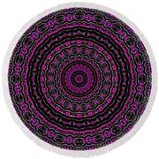 Black And White Mandala No. 3 In Color Round Beach Towel