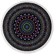 Black And White Mandala No. 4 In Color Round Beach Towel