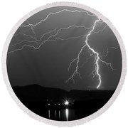 Black And White Massive Lightning Strikes Round Beach Towel