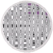 Black And White Metal Panel Abstract Round Beach Towel