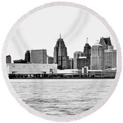 Black And White Motor City Pano Round Beach Towel