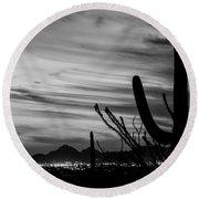 Black And White Night In Arizona Round Beach Towel
