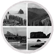 Black And White Olympic National Park Collage Round Beach Towel