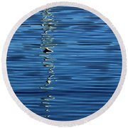 Black And White On Blue Round Beach Towel