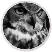 Black And White Owl Painting Round Beach Towel