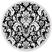 Black And White Paisley Pattern Vintage Round Beach Towel