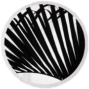Black And White Palm Branch Round Beach Towel