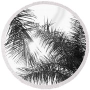 Black And White Palm Trees Round Beach Towel