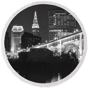 Black And White Panorama Of Cleveland Round Beach Towel