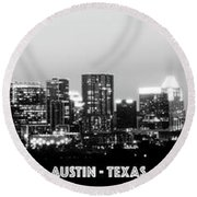 Black And White Panoramic View Of Downtown Austin Round Beach Towel