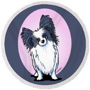 Black And White Papillon Round Beach Towel