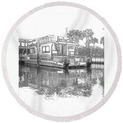 Black And White Party Boat Round Beach Towel