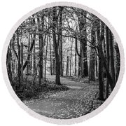 Black And White Path In Autumn  Round Beach Towel
