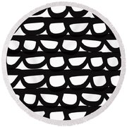 Black And White Pebbles- Art By Linda Woods Round Beach Towel