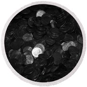 Black And White Pennies Round Beach Towel
