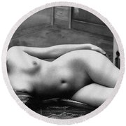 Black And White Photo Of Female Erotic Nude Round Beach Towel