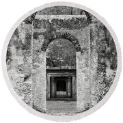 Black And White Photograph Beaufort Historic Church - Chapel Of The Ease Round Beach Towel