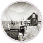 Black And White Photography - Martha's Vineyard - Black Dog Wharf Round Beach Towel