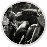 Black And White Photography - Motorcyclists Round Beach Towel