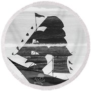 Black And White Pirate Ship Against The Sea And Crushing Waves. Double Exposure Round Beach Towel