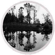 Black And White Reflected Round Beach Towel