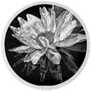 Black And White Reflection Round Beach Towel